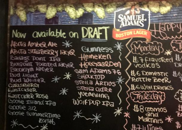 Draft beer selection in Manhatten