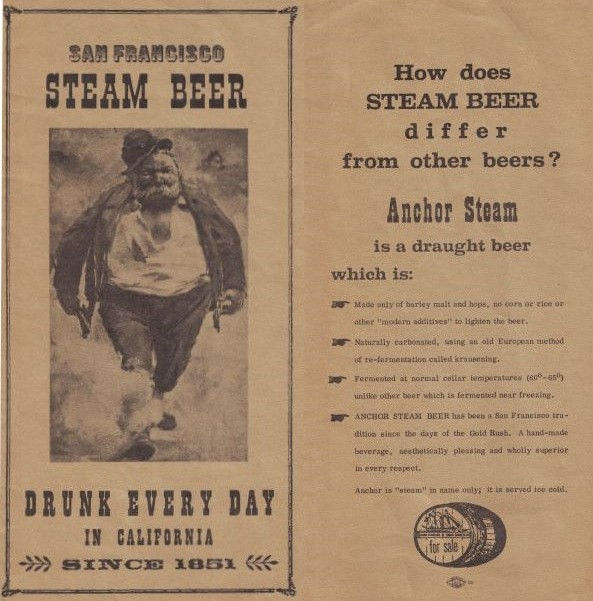 Anchor Brewing tri-fold brochure from the 1970s