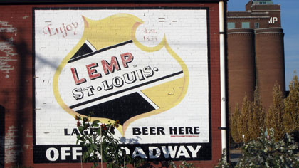 Lemp Brewing sign, building (background)