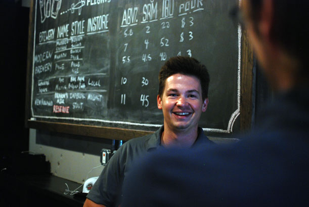 Ronnie Fink of Modern Brewery talks with a customer