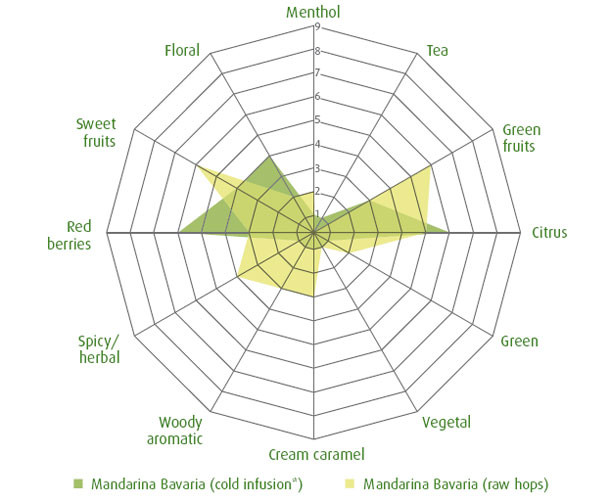 Mandarina Bavaria hops (spider graph)