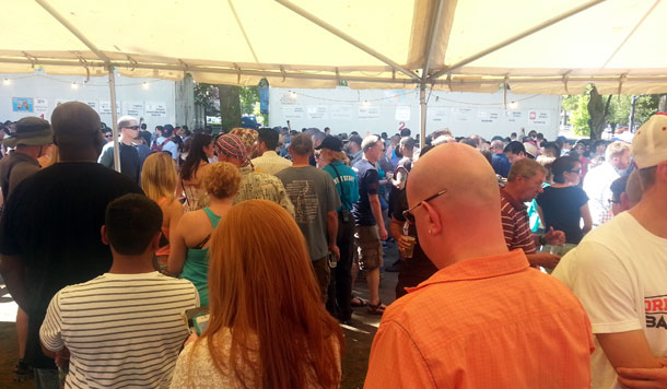 Line for 21st Amendment Hell or High Watermelon Wheat at the Oregon Brewers Festival