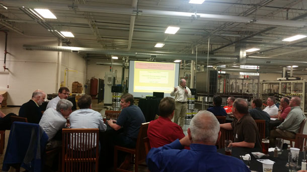 Greg Casey speaks at MBAA meeting at O'Fallon Brewery in St. Louis
