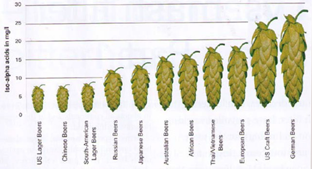 Iso-alpha hop levels in various beer styles