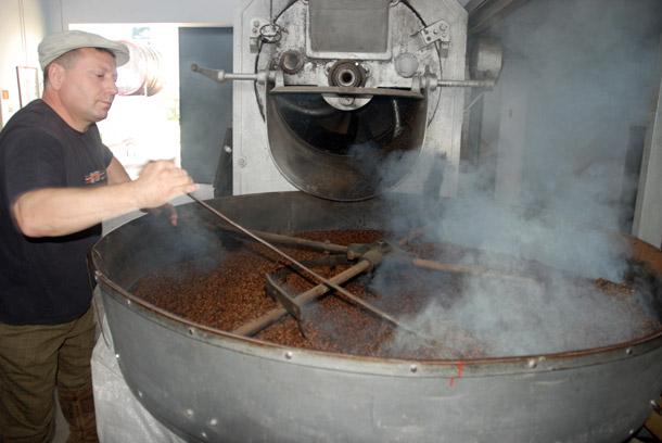 Roasting malt at Zywiec Brewery in Poland