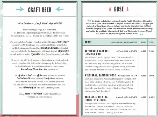 Altes Mädchen Braugasthaus beer menu