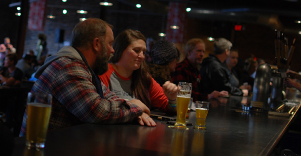Bill Eye, Ashleigh Carter of Bierstadt Lagerhaus drinking at Urban Chestnut Brewing