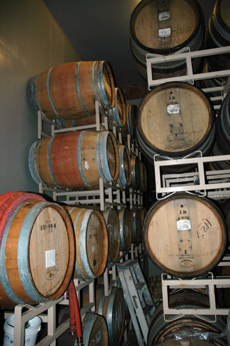 Barrel room, Russian River brewpub, Santa Rosa